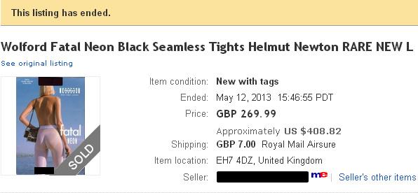 eBay - Wolford Fatal Neon, Sold!