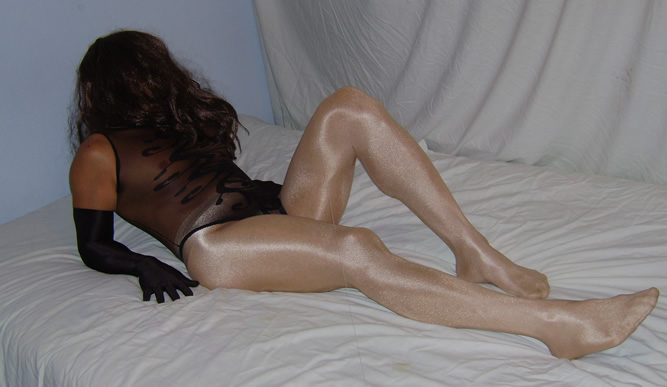 Crossdresser in Teddy and Pantyhose