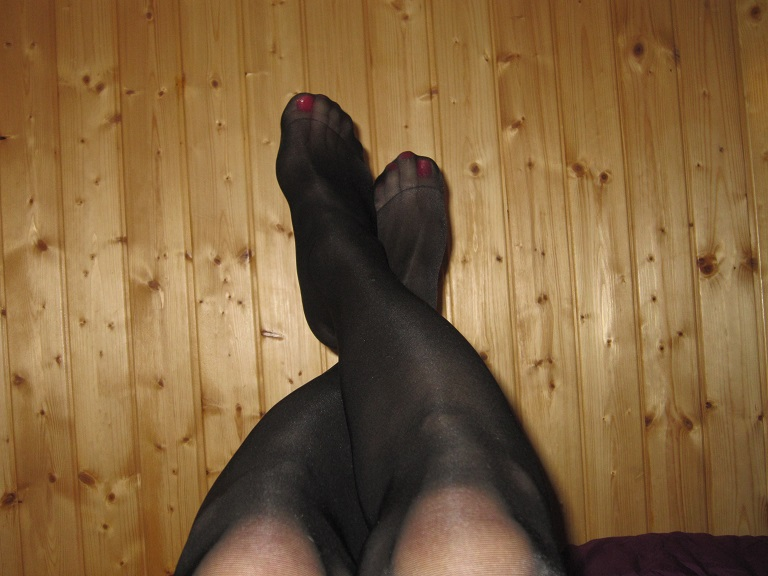 My painted toes showing through pantyhose
