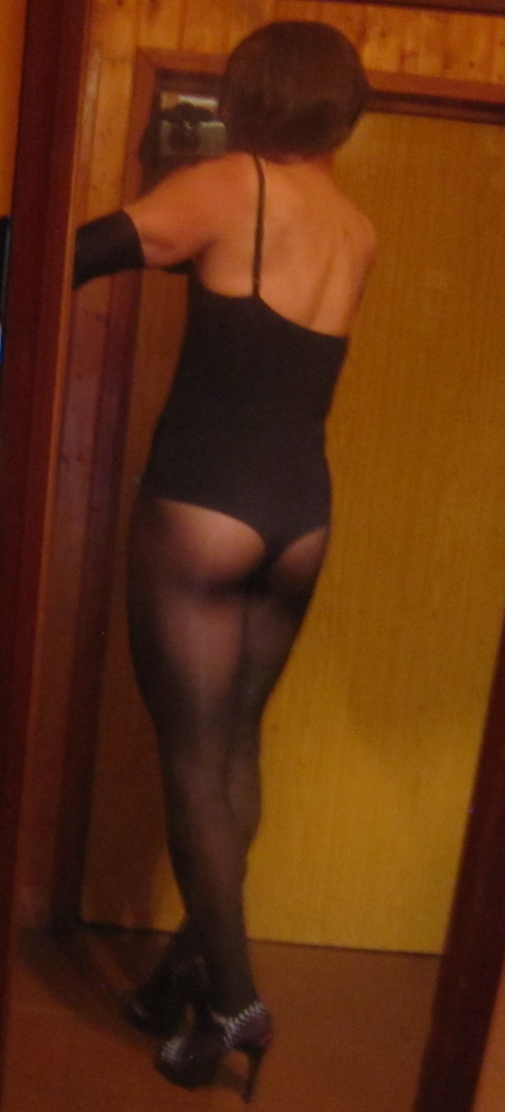 Item m6 bodysuit with Wolford Neon pantyhose, rear view