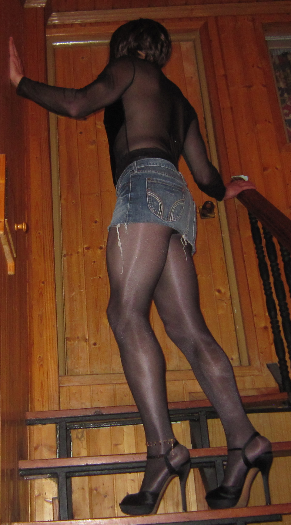 Sheery in denim mini and Wolford tights